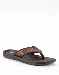 Kenneth Cole Reaction Snake Embossed Sandals Brown