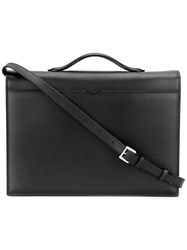 Valextra Top Handle Messenger Bag Black