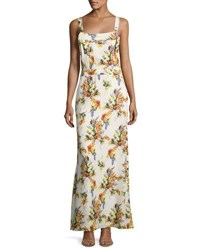 Haute Hippie Floral Print Overall Silk Gown Multi