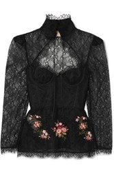 Brock Collection Oliera Tie Detailed Embellished Corded Lace Blouse Black