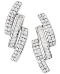 Wrapped In Love Diamond Three Row Earrings 1 Ct. T.W. In 14K White Gold No Color