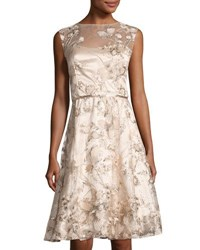 Lm Collection Floral Sequined A Line Dress Champagne