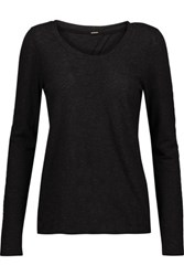 Monrow Knotted Cutout Stretch Jersey Top Charcoal
