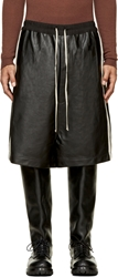Rick Owens Black Leather Pearl Trim Oversized Shorts