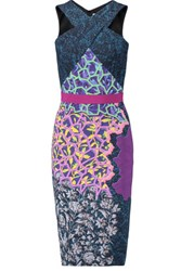 Peter Pilotto Belted Printed Stretch Crepe Dress Purple