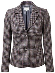 Pure Collection Rosalie Textured Wool Blazer Grey Coloured Check
