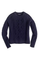 J.Crew Women's Hawthorne Cable Pom Pom Sweater Navy