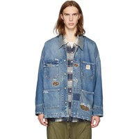 R 13 R13 Indigo Denim Oversized Barn Jacket
