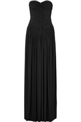 Alexander Wang Eyelet Embellished Ruched Stretch Jersey Gown Black