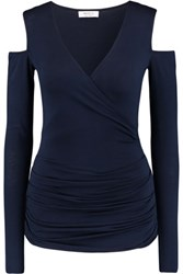 Bailey 44 Cold Shoulder Ruched Wrap Effect Jersey Top Midnight Blue