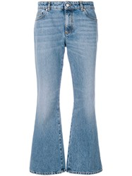 Alexander Mcqueen Embroidered Flared Jeans Blue