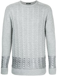 Guild Prime Metallic Stripe Cable Knit Jumper Acrylic Polyester Grey