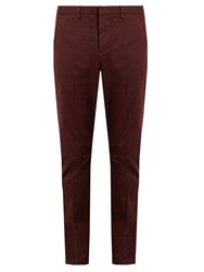 Ami Alexandre Mattiussi Slim Leg Stretch Cotton Chino Trousers Burgundy