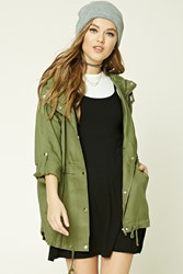 Forever 21 Hooded Utility Jacket Olive