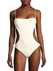 6 Shore Road Seashell Side Cutout One Piece Swimsuit White