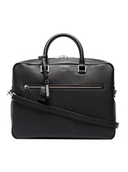Saint Laurent Black Logo Print Pebbled Leather Briefcase