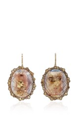 Kimberly Mcdonald Sapphire And Irregular Natural Brown Diamond Earrings