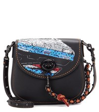 Coach Car Embellished Turnlock Saddle Bag Black
