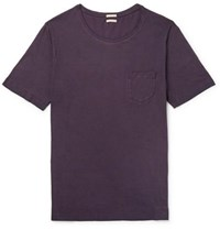 Massimo Alba Panarea Slim Fit Watercolour Dyed Cotton Jersey T Shirt Purple