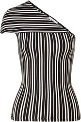 Beaufille Mensa One Shoulder Striped Ribbed Stretch Knit Top Black