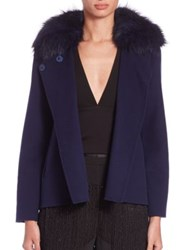 Halston Fur Collar Jacket Navy