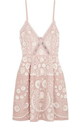 Needle And Thread Crochet Trimmed Embellished Embroidered Crepe Mini Dress Pink