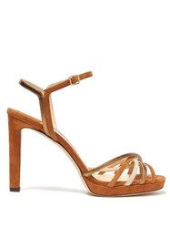 Jimmy Choo Lilah Crossover Strap Suede Sandals Tan Gold