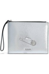 Versus By Versace Embellished Metallic Textured Leather Pouch Silver