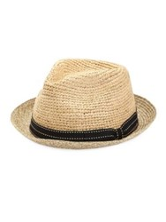 Saks Fifth Avenue Collection Raffia Fedora Hat Natural