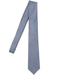 Z Zegna 7Cm Micro Geometric Silk Tie Light Blue