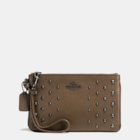 Coach Small Wristlet In Polished Pebble Leather With Ombre Rivets Dark Gunmetal Fatigue