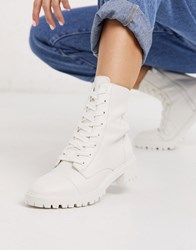 Bershka Lace Front Boot In White