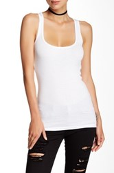 American Apparel Ribbed Scoop Neck Tank White