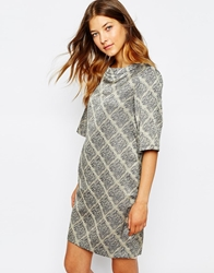 Le Mont St Michel Dress In Grid Print Greigeground