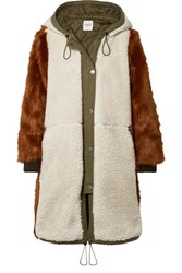 Sea Madeline Canvas Trimmed Paneled Faux Fur And Faux Shearling Coat Brown
