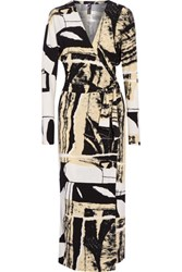 Norma Kamali Dolman Wrap Effect Printed Stretch Jersey Midi Dress Off White