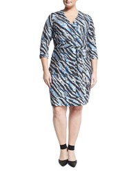 Mynt 1792 Plus Geo Print Wrap Front Dress Black Pattern