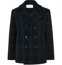 Mr P. Double Breasted Checked Wool Blend Peacoat Blue