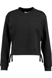 Derek Lam 10 Crosby By Cropped Lace Up Cotton Jersey Sweatshirt Black