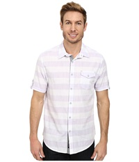 Dkny Short Sleeve Slub Horizontal Stripe Shirt Casual Wash Wisteria Men's Short Sleeve Pullover Purple