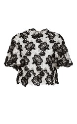Monique Lhuillier Floral Embroidered Short Sleeve Top Black White