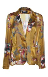 Paule Ka Japanese Floral Printed Silk Satin Jacket
