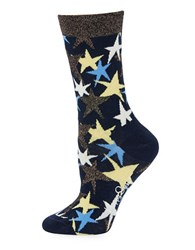 Happy Socks Star Printed Crew Blue Yellow