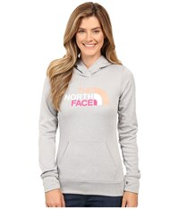 The North Face Fave Pullover Hoodie Tnf Light Grey Heather Feather Orange Multi Women's Sweatshirt Gray
