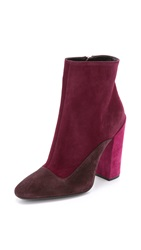 Giambattista Valli Suede Tricolor Booties Burgundy