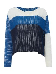 Crea Concept Panelled Cropped Jumper Blue