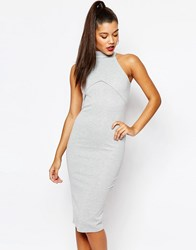 Missguided High Neck Body Conscious Dress Gray