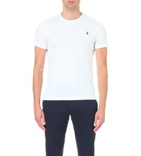 Polo Ralph Lauren Logo Embroidered Cotton Jersey T Shirt White