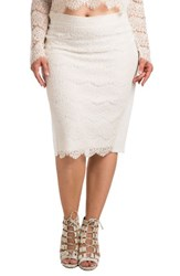 Standards And Practices Plus Size Women's Tori Lace Overlay Pencil Skirt White