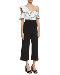 Self Portrait Monochrome Frill Jumpsuit Black White Black White